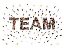 Team concept .3d rendering of a diverse large group of people forming the shaped text word for teamwork. royalty free stock photos