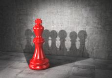 Team concept. Force of teamwork. Democracy. Chess king cast shadow in form of pawn group. 3d. Illustration Stock Photography