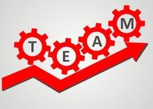 Team concept - gear climb up the arrow Stock Photos