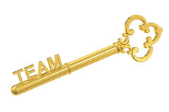 Team concept with golden key, 3D rendering. Team concept with golden key Royalty Free Stock Image