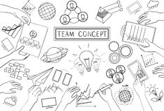 Team Concept. Line Design. Set of application development, information and mobile technologies vector elements Royalty Free Stock Photos