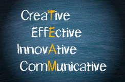 Team concept words on blackboard. Team concept words on chalkboard - creative, effective, innovative and communicative royalty free stock photos