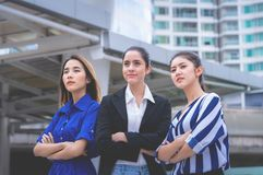 Team of confidence business woman outdoor royalty free stock image