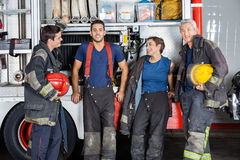 Team Of Confident Firefighters At Fire Station Royalty Free Stock Photos