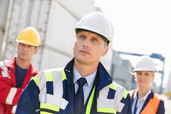 Team of confident workers in shipping yard Royalty Free Stock Photography