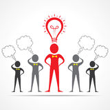 Team in confusion and leader having idea concept. Vector illustration Stock Image
