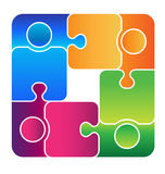 Team Connected logo. People connected in a loop through pieces of puzzle Stock Photo
