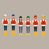 Team of construction worker wearing helmet different color Stock Photos