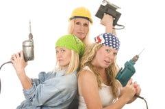 Team contractor   ladies tools Stock Photos