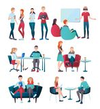Team Cooperation Flat Collection. Creative team coworking people gradient flat human characters set with  images of young office workers vector illustration Royalty Free Stock Photo