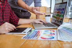 Team of Creative graphic designer meeting working on new project, choose selection color and drawing on graphics tablet with work stock images
