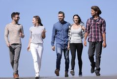 Team of creative young people .outdoors royalty free stock images
