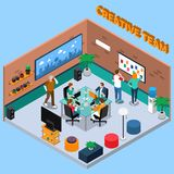Team Of Creatives Isometric Illustration vektor illustrationer