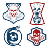 Team crests set with snake and skulls Stock Photo