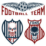 Team crests set with wings and skulls. Football team crests set with wings and skulls Stock Image