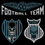 Team crests set with wings and skulls Royalty Free Stock Photography
