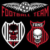 Team crests set with wings and skulls. Football team crests set with wings and skulls Royalty Free Stock Photography