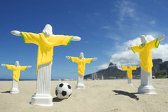 Team of Cristo Football Players Ipanema Beach Rio Royalty Free Stock Photo