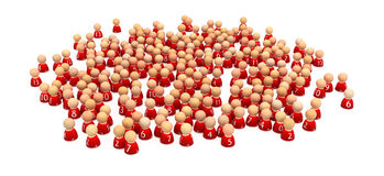 Team Crowd. Crowd of small symbolic 3d figures, isolated Royalty Free Stock Photo