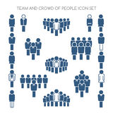 Team and crowd icons. Team and crowd signs. Team icons and crowd of people icons. Vector illustration Stock Photography