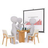 Team of 3d businessmen discussing a chart. Team of 3d rendered cartoon businessmen discussing a chart at a meeting in the office as they analyse the statistics Royalty Free Stock Photo