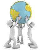 Team 3d characters holding a large globe. Stock Images