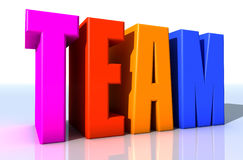 Team. 3d design. Team text and colors Stock Photo