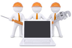 Team 3d humans with tools near the laptop. Isolated render on a white background Royalty Free Stock Image