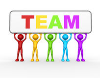 Team. 3d people - man, person with board and word Team. Concept of teamwork Stock Photo