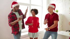 Team dancing at christmas corporate office party stock video footage