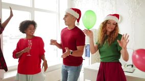 Team dancing at christmas corporate office party stock footage