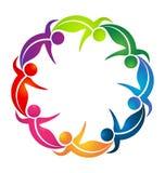 Team of dancing leaf figure people vector logo. Design illustration Stock Images