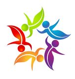 Team of dancing leaf figure people vector logo. Design illustration royalty free illustration
