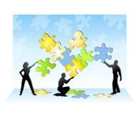 Team dat een Puzzel oplost royalty-vrije illustratie