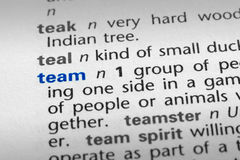 Team definition. The word Team in a dictionary, word in blue with rest of page text in black Royalty Free Stock Photography