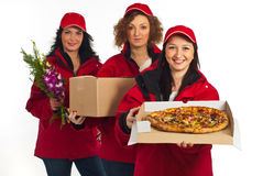 Team of delivery women Royalty Free Stock Photos