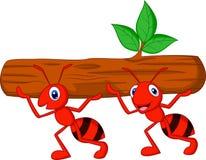 Team der Ameisenkarikatur trägt Klotz Stockfotos