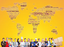 Team der internationalen Zusammenarbeit und des Erfolgs lizenzfreies stockbild