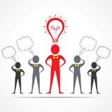 Team in der Verwirrung und in Führer, die Ideenkonzept haben Stockbild
