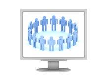 Team des Firmenzeichens 3d auf Bildschirmanzeige Lizenzfreie Stockfotos