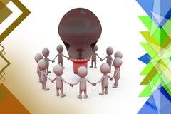 Team des Mannes 3d für Ideenillustration Lizenzfreie Stockbilder