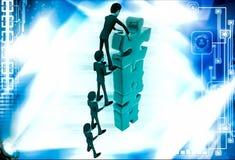 Team des Mannes 3d machen hohen Bau von der Puzzlestückillustration Stockfotografie