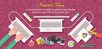 Team Design Flat Style créatif Images stock