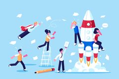 Team of developers beginning new startup. Vector illustration. People working on new challenging project flat style concept. Workers developing blueprint stock illustration