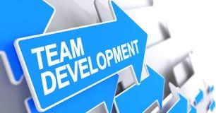 Team Development - Bericht op Blauwe Pijl 3d vector illustratie