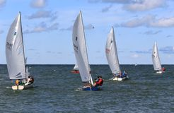 Team die op het open water varen Stock Fotografie
