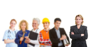 Team with different occupations and trades Stock Photography