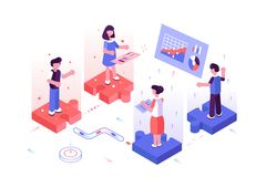 Team discussing new project. Vector illustration. Men and women standing on puzzle and communicate with each other flat style concept. Workers searching for stock illustration