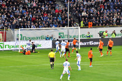 Team Dnepr scores a goal against Shakhtar Royalty Free Stock Image