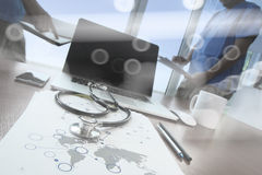 Team doctor working with laptop computer in medical Royalty Free Stock Image
